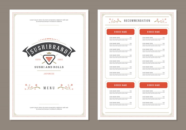 Sushi restaurant menu ontwerp en logo vector brochure sjabloon.