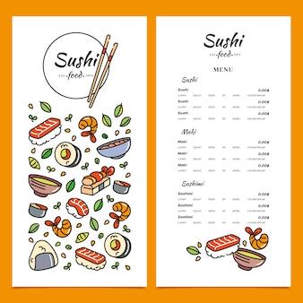 Sushi restaurant menusjabloon