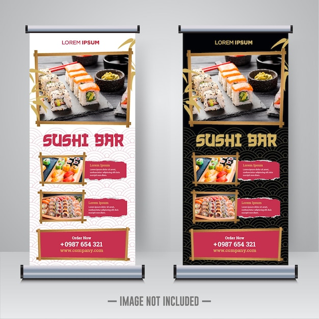 Sushi restaurant roll-up banner ontwerpsjabloon