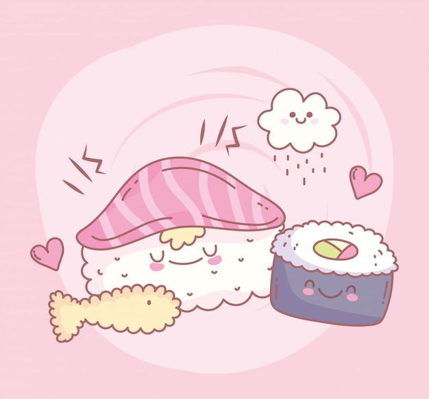 Sushi rijst zalm en vis menu restaurant eten schattig vector illustratie
