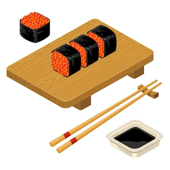 Sushi roll met kaviaar eetstokjes sojasaus in kom en houten bord geïsoleerd op wit vector icon