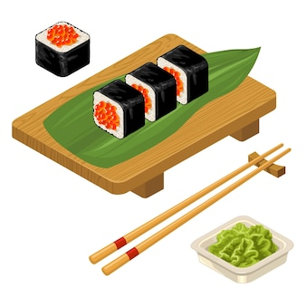 Sushi roll met kaviaar eetstokjes wasabi in kom en houten bord vector egale kleur icon