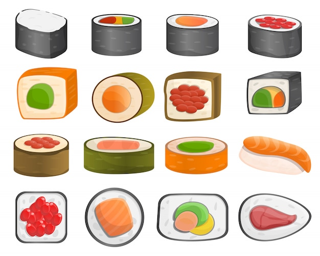 Sushi roll pictogrammenset, cartoon stijl