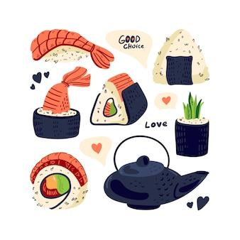 Sushi rolt traditionele gerechten. aziatische keuken