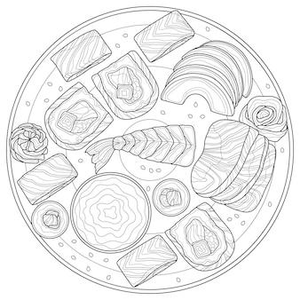 Sushi set.food.coloring boek anti-stressprogramma volwassenen. illustratie geïsoleerd op een witte achtergrond. zwart-wit tekening