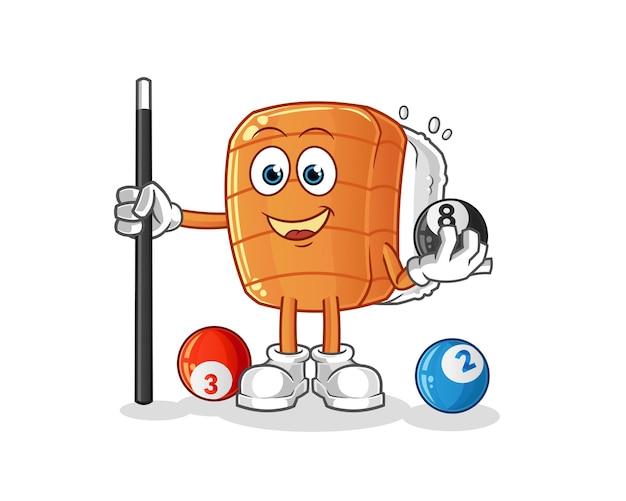 Sushi speelt biljartkarakter. cartoon mascotte