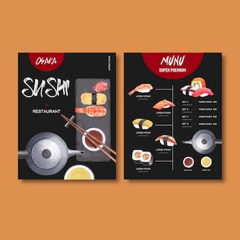 Sushi vast menu voor restaurant.