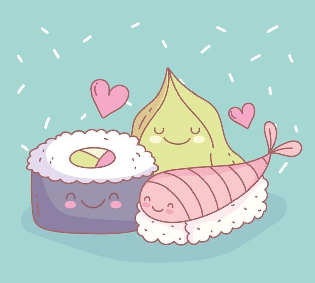 Sushi vis en wasabi menu restaurant eten schattig