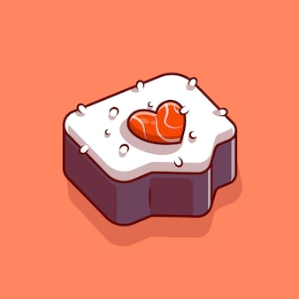 Sushi zalm liefde cartoon vectorillustratie pictogram. japans eten pictogram concept. platte cartoon stijl