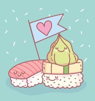 Sushi zalm rijst en wasabi menu restaurant eten schattig