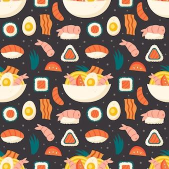 Sushi zalm rijst garnalen nori ramen roll ei spek ei citroengras aziatisch eten bezorgen