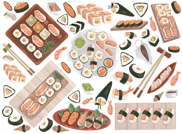 Sushibroodjes, oosterse keuken, zeevruchten set doodle.