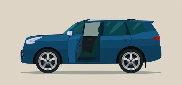 Suv-auto met open bestuurders- en passagiersdeur. illustratie.