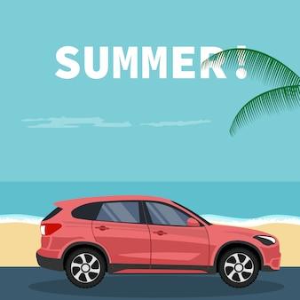 Suv-voertuigontwerp op het strand in de zomer wordt geparkeerd die