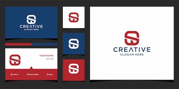 Sw-logo-ontwerp met sjabloon voor visitekaartjes