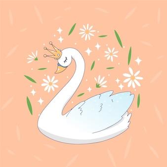 Swan cartoon prinses omringd door bloemen en bladeren