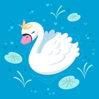 Swan draagt een elegante gouden kroon en lelieblad