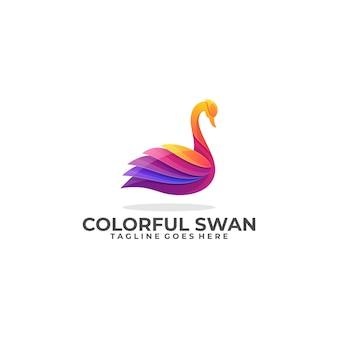 Swan kleurrijke industrie sjabloon