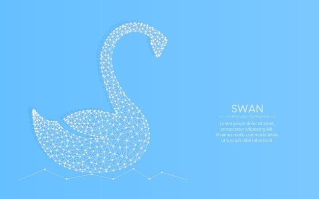 Swan laag poly, dier abstract geometrisch, vogel draadframe mesh veelhoekige illustratie gemaakt van punten en lijnen op blauw