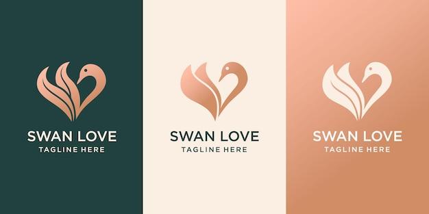 Swan-logo luxe logo-ontwerp dat bladeren van ganzenkoppen en hartvormen combineert