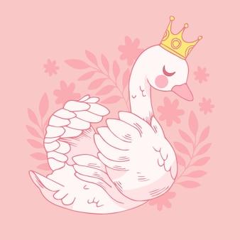 Swan prinses geïllustreerd