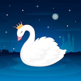 Swan prinses illustratie concept