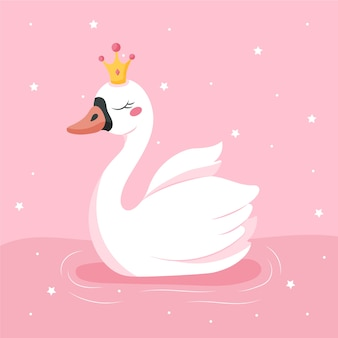 Swan prinses platte ontwerp illustratie met glitters