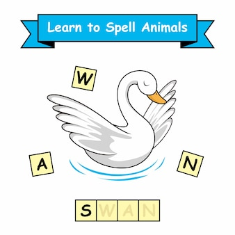 Swan werkblad leren spellen