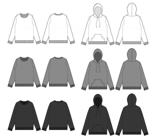 Sweatshirt hoodie tee mode platte technische tekening sjabloon