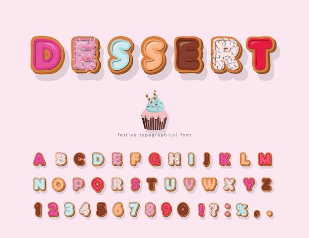 Sweet cartoon lettertype. decoratieve schattig alfabet.
