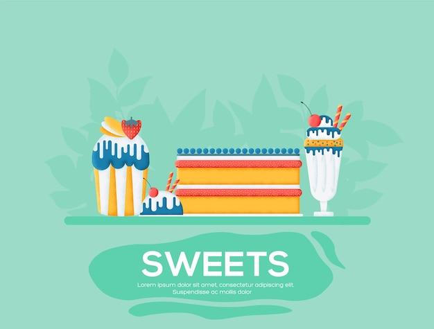 Sweet day flyer, tijdschriften, poster, boekomslag, banners. korrelstructuur en ruiseffect.