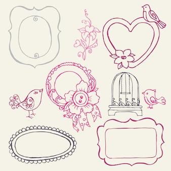 Sweet doodle frames met vogels en bloemelementen