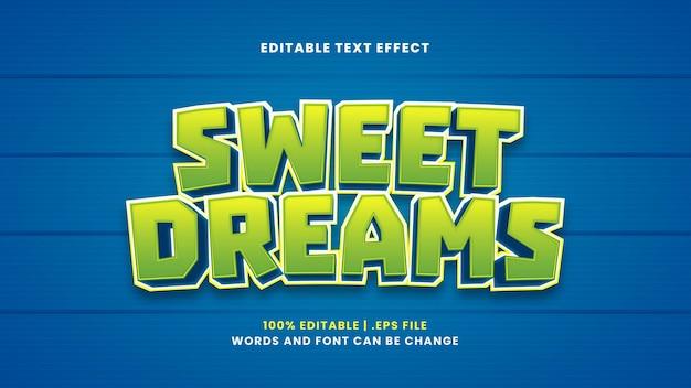 Sweet dreams bewerkbaar teksteffect in moderne 3d-stijl