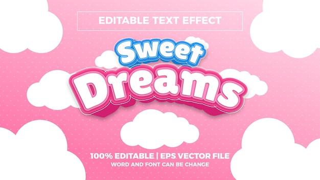 Sweet dreams bewerkbaar teksteffect