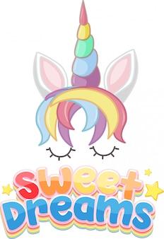 Sweet dreams logo in pastelkleur met schattige eenhoorn