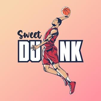 Sweet dunk met basketbalspeler die slam dunk-illustratie doet