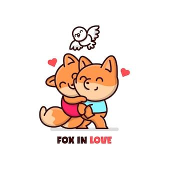 Sweet fox paar de mannelijke vos die zijn vriendin draagt en ze voelen zich mooi