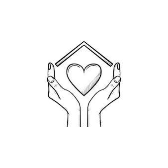 Sweet home hand getrokken schets doodle pictogram. handen met hart onder het dak van het huis als het beste concept voor onroerend goed en huisvesting. vectorschetsillustratie voor print, web, mobiel en infographics