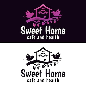 Sweet home met vogel logo, boomhut natuurlijke logo vector ontwerpsjabloon