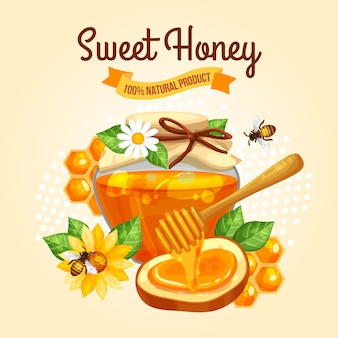 Sweet honey poster Gratis Vector