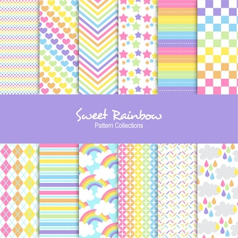 Sweet rainbow patterns set