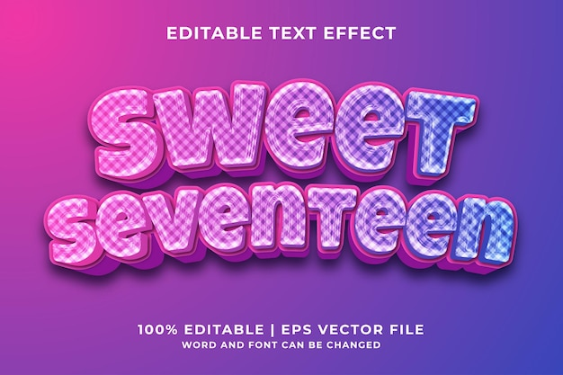 Sweet seventeen 3d bewerkbaar teksteffect premium vector