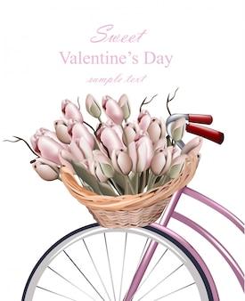 Sweet valentine dag kaart met tulp bloemen vector-realistische