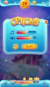 Sweet world mobiele gui geluidsvolumescherm voor videowebgames