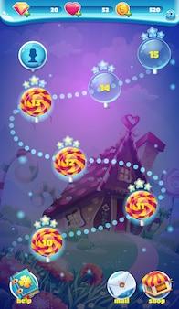 Sweet world mobiele gui-kaartscherm video-webgames
