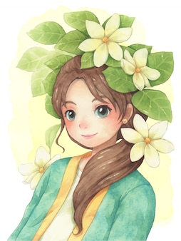 Sweet young woman and flower watercolor