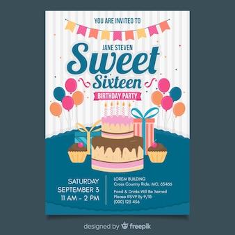 Sweet zestien verjaardag uitnodiging sjabloon