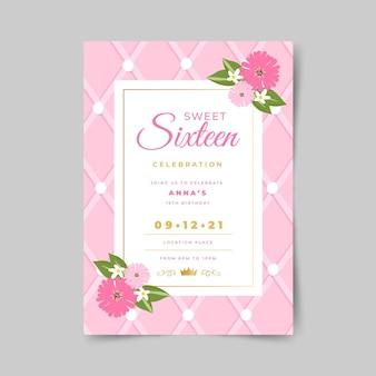 Sweet zestien verjaardagsuitnodiging ontwerp