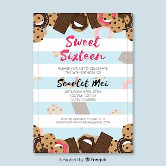 Sweet zestien verjaardagsuitnodiging