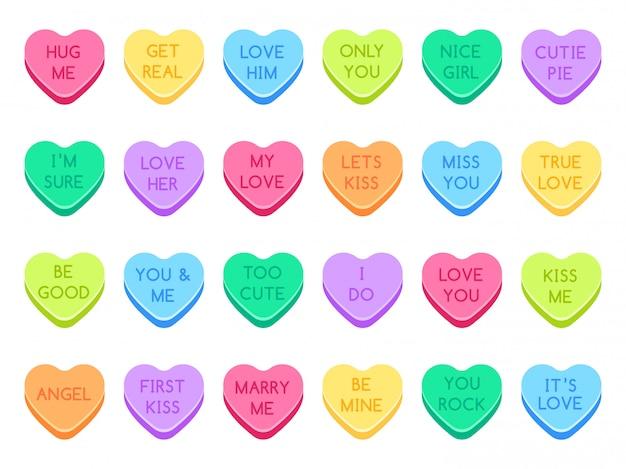 Sweetheart snoep. sweet heart snoepjes, snoep valentines en gesprek liefde harten snoepjes illustratie set